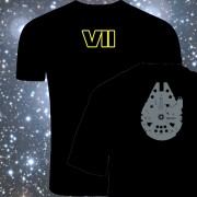 Star Wars The Force awakens t-shirt millenium falcon on the Back