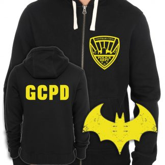 Batman Inspired Gotham City Police Department Screen-Printed Two-Sided Zip-Up Hoodie