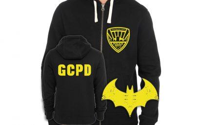 Batman Inspired Gotham City Police Department Screen-Printed Two-Sided Zip-Up Hoodie